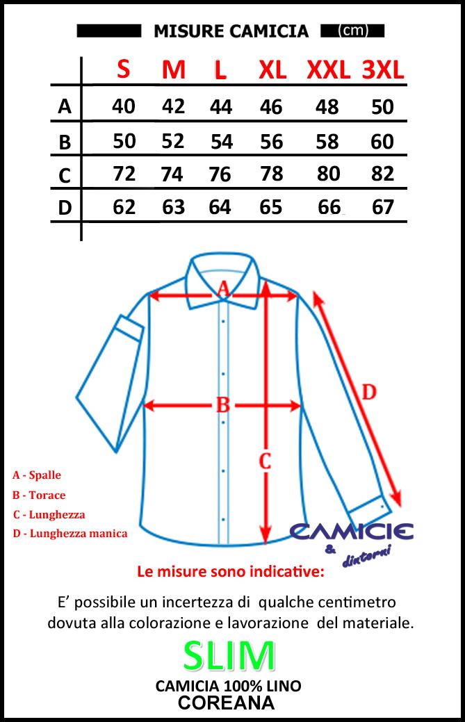 purchase cheap 52bee f5e17 Puro Lino Camicia SLIM Uomo Coreana Manica Lunga TG. S, M, L, XL, XXL e 3XL  Primavera/Estate 2019