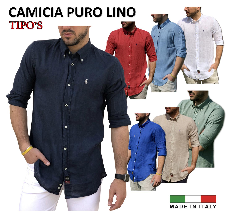 huge discount 0e6b9 91470 TIPO'S Camicia Uomo Puro Lino Made in Italy Manica Lunga TG. M, L, XL, XXL,  XXXL Primavera/Estate