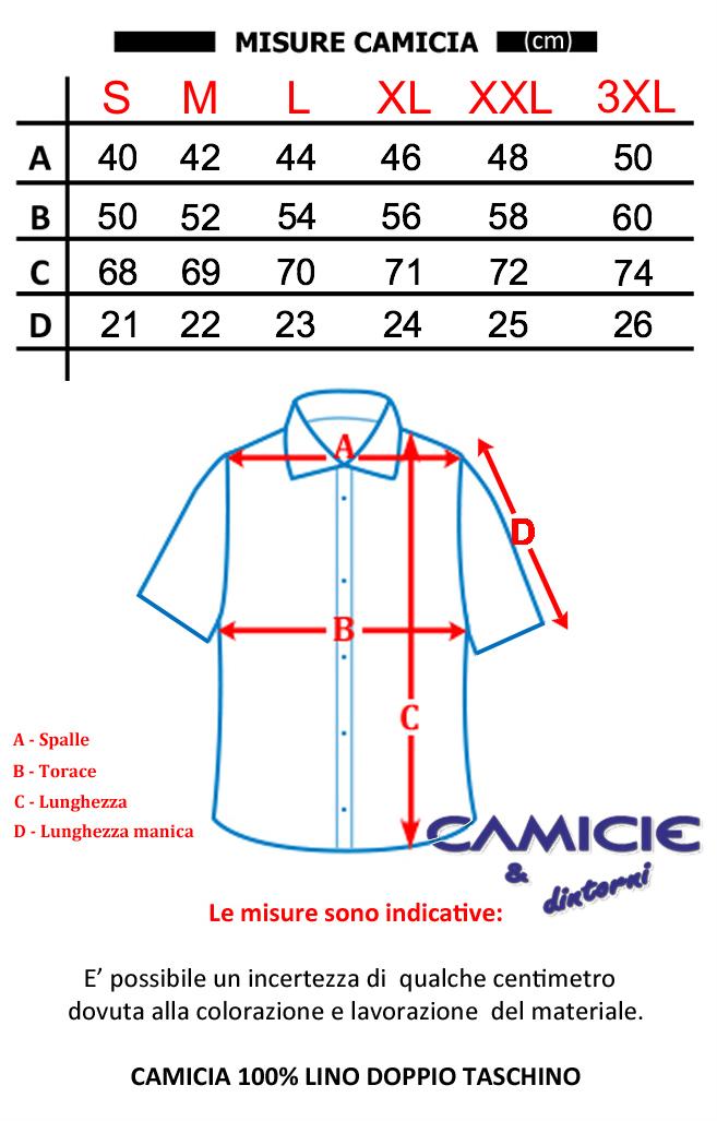 Puro Lino Camicia Uomo Doppio Taschino Manica Corta TG  S, M, L, XL, XXL,  3XL Estate 2019