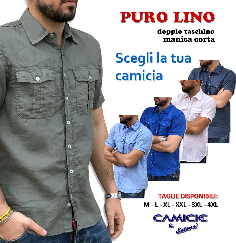 online store 1174e f387d Puro Lino Camicia Uomo Doppio Taschino Manica Corta TG. S, M, L, XL, XXL,  3XL Estate 2019