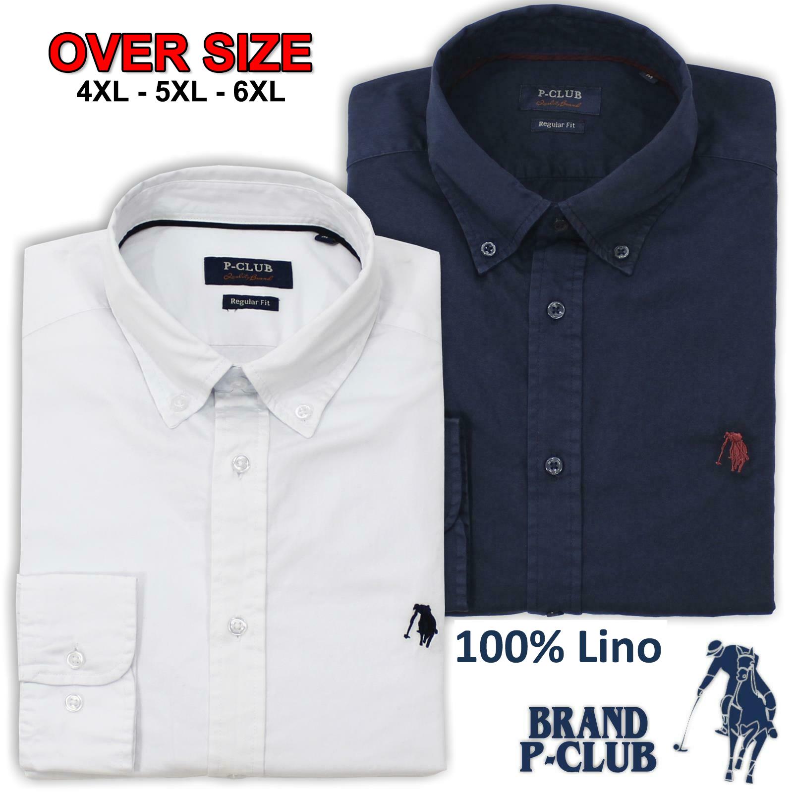 69813d355a Camicia Uomo 100% Lino Polo Club Manica Lunga Taglie Forti 3XL 4XL 5XL 6XL  Over Size