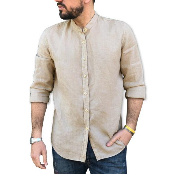 camicia lino sabbia collo coreana 100% lino