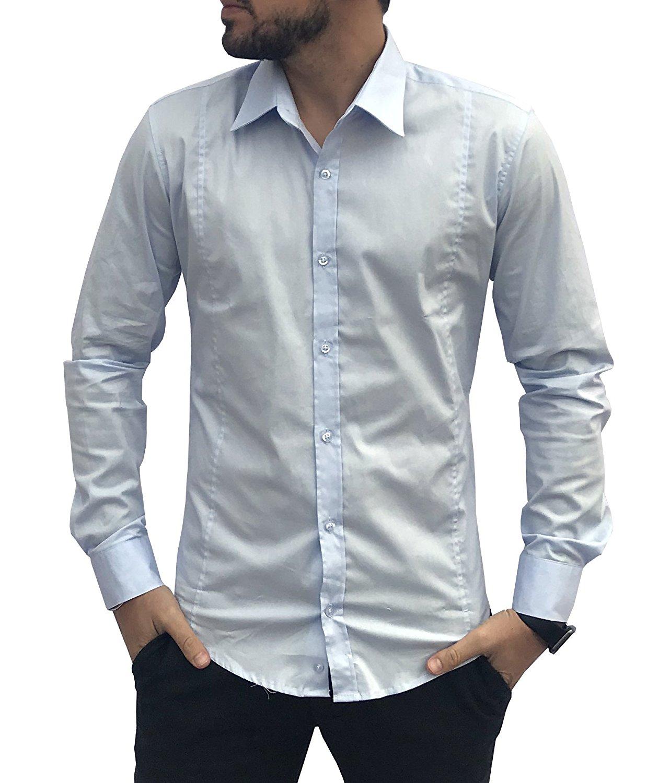 best website 6f46b 7a456 Camicia Uomo Slim Fit Cotone Elegante MADE IN ITALY Asso di Cuori M L XL  XXL Elasticizzata Celeste Blu Bianca Nera